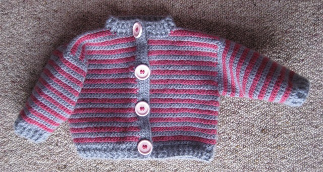 Pink and grey baby cardi